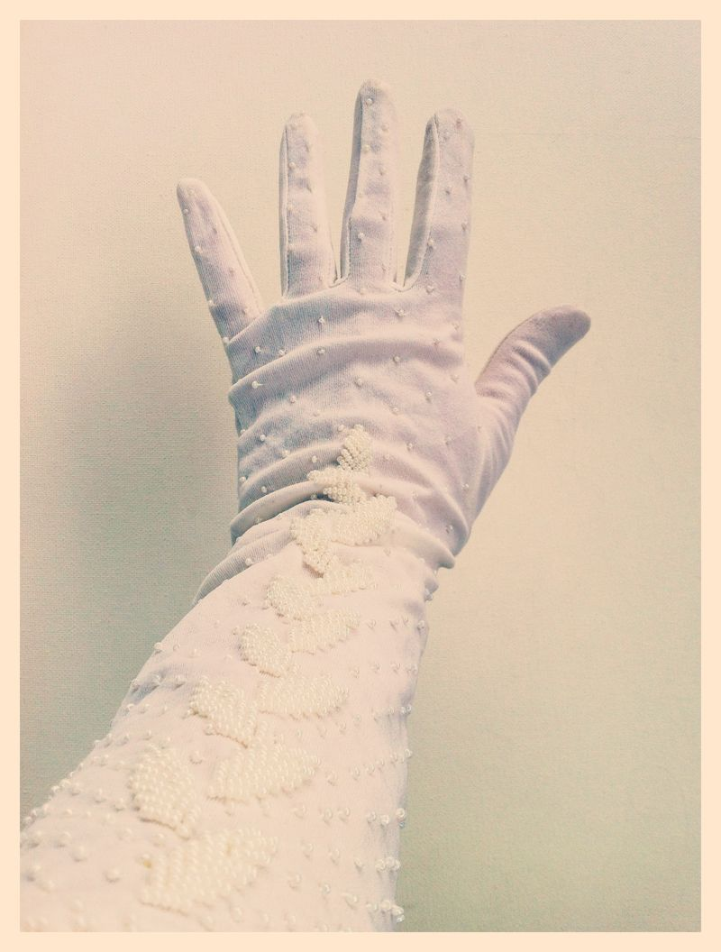 Vintage White Beaded Gloves...perfect for a winter bride!
