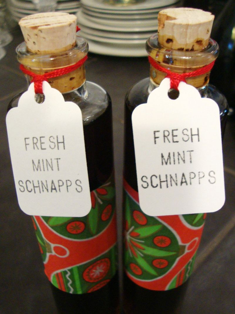Homemade peppermint schnapps for the holidays.