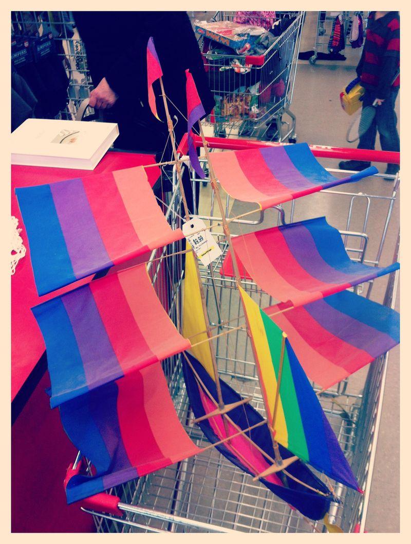Rainbow sailing ship kite