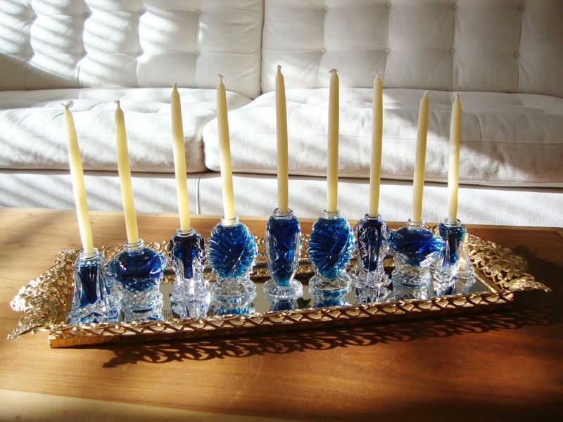 DIY salt shaker menorah for Hanukkah - clever!