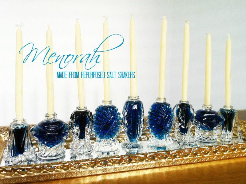 DIY Crystal Menorah made from repurposed salt shakers.