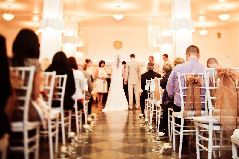 Wedding ceremony in the Monte Cristo Ballroom  Photo by Kaylee Eylander | http://eylanderphotography.com/