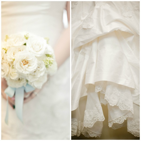 Gorgeous white bridal bouquet and wedding gown detail. Photos by http://eylanderphotography.com/ (bouquet) and http://bluewingphotos.com/ (dress)