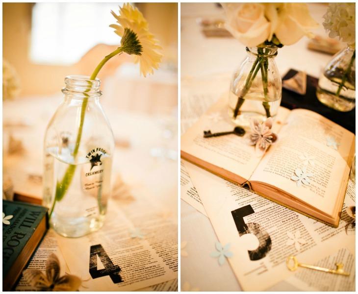 Sweet wedding centerpieces and table numbers...vintage books, book page flowers, vintage keys, milk bottles...love!  Photos by Kaylee Eylander | http://eylanderphotography.com/