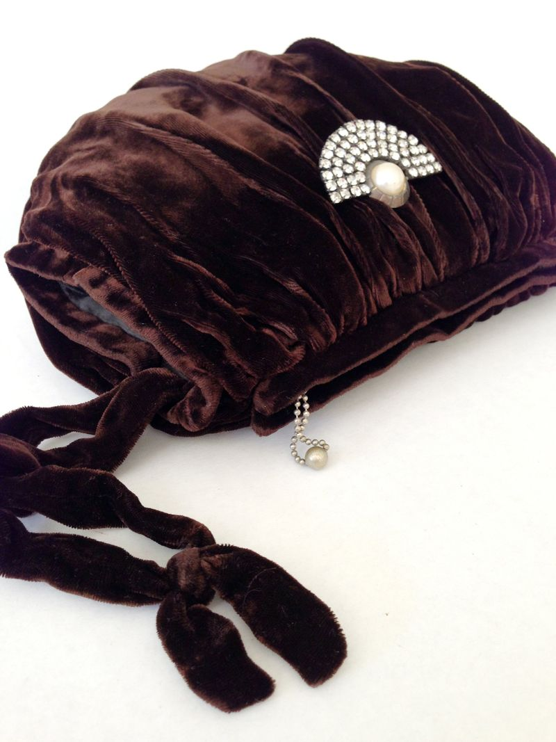 Gorgeous vintage brown velvet muff...doubles as a purse...love!