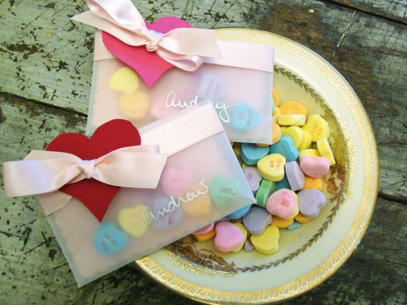 DIY vellum pocket Valentines with candy hearts.
