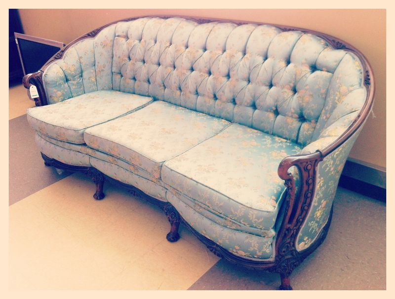 Tuffted Blue Victorian Sofa
