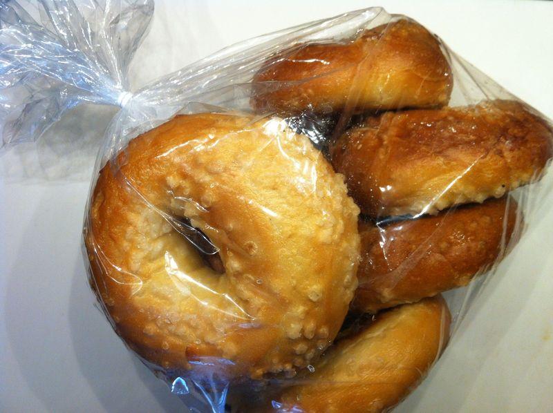Bag of day-old bagels for DIY bagel chips