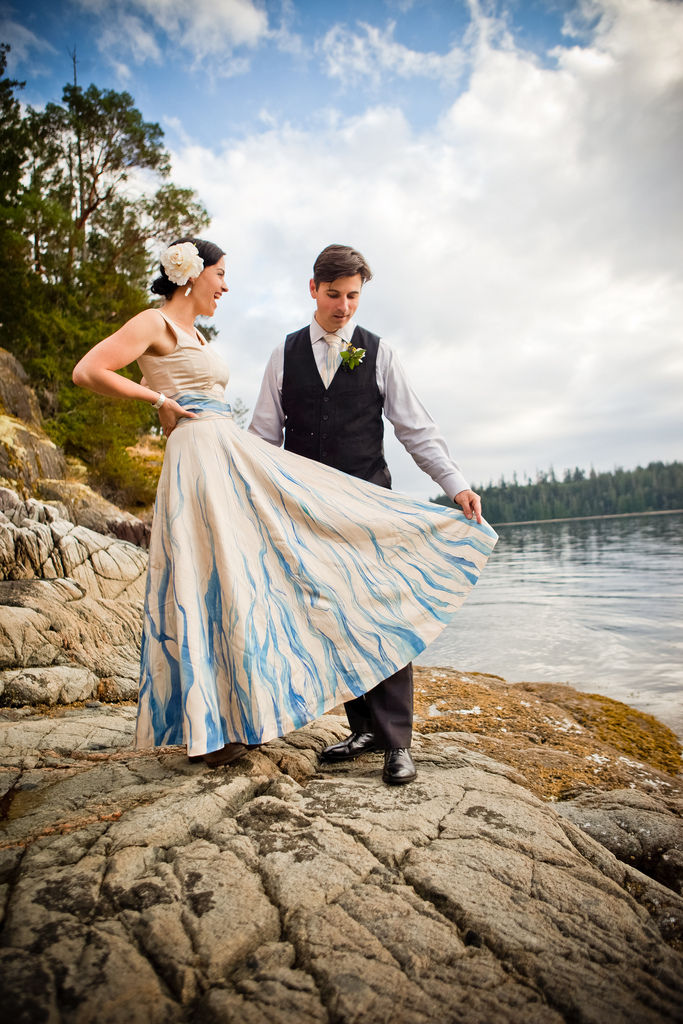 DIY Hand-painted recycled wedding dress.