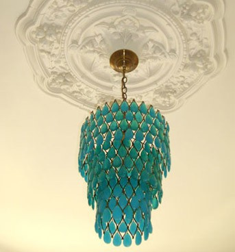 Turquoise crystal chandlier
