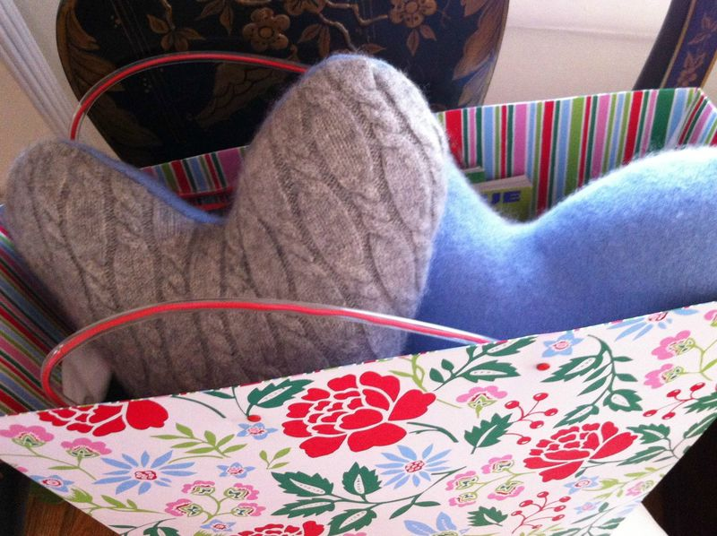 DIY recycled cashmere masectomy pillows
