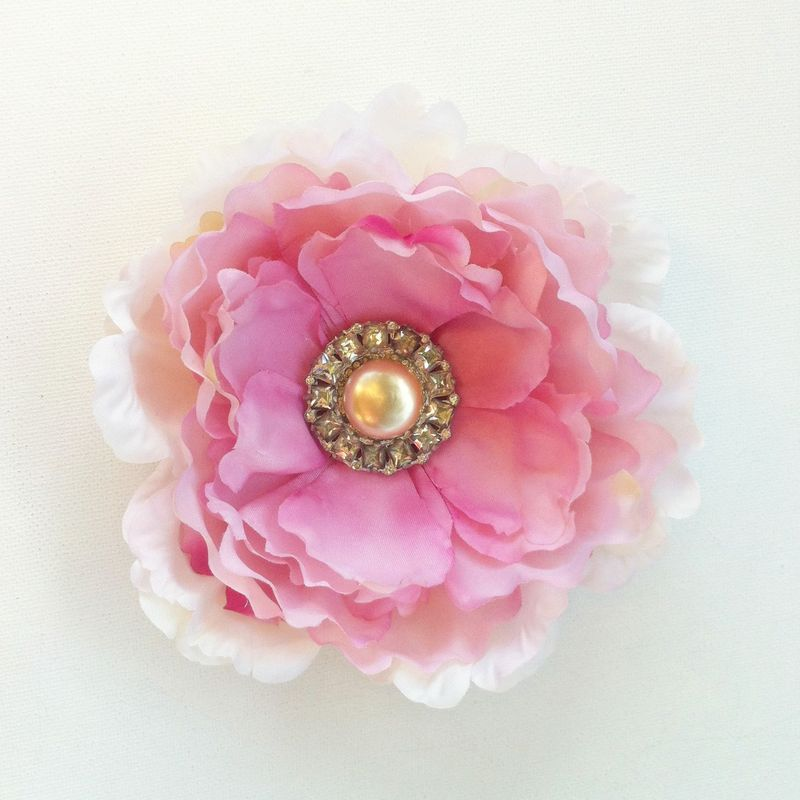 Dreamy shabby chic peony hair clip - love the vintage button in the center.