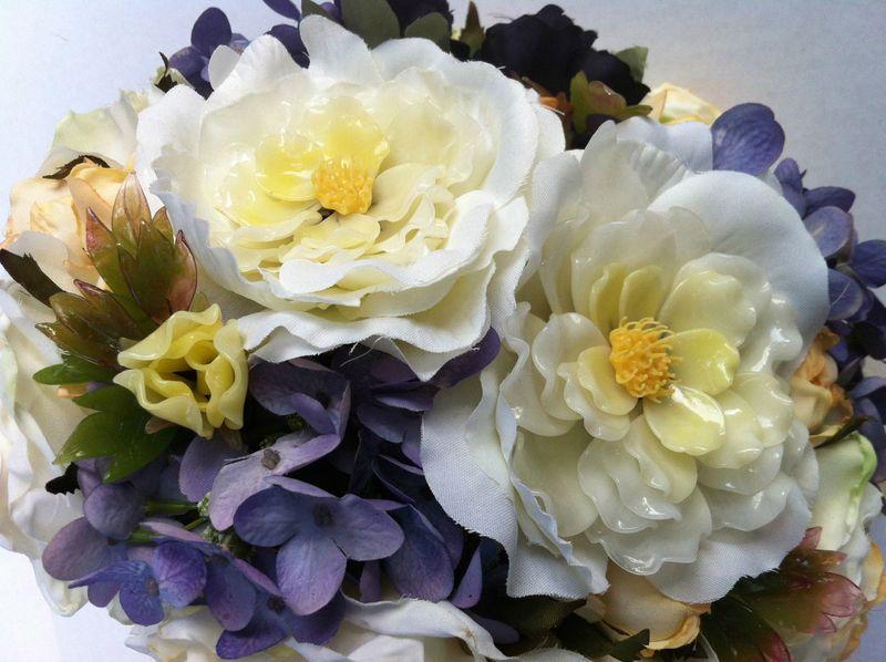 Bridal bouquet featuring vintage glass bonsai flowers.