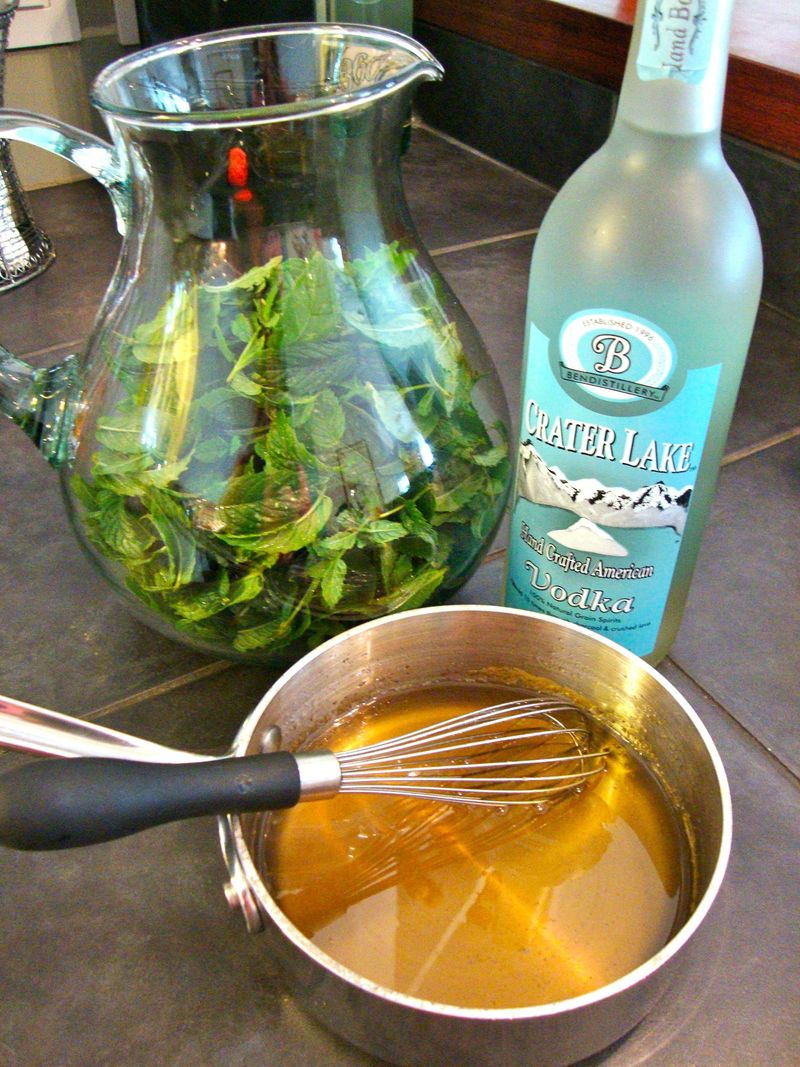 Making simple syrup for homemade peppermint schnapps