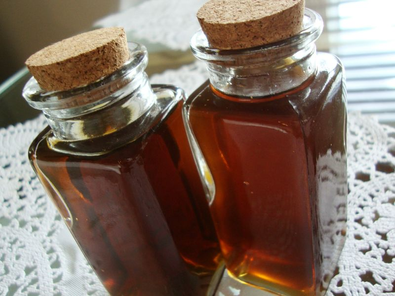 Natural caramel color of homemade peppermint schnapps