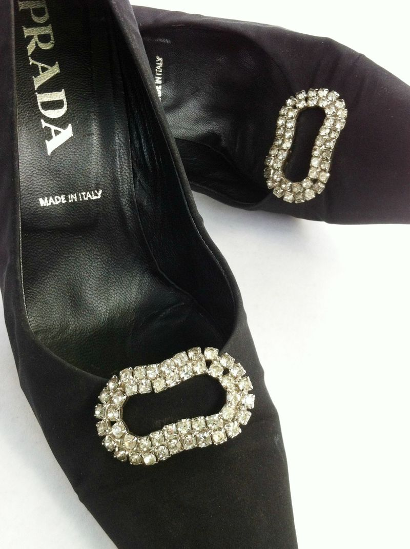Gorgeous vintage rhinestone shoe clips and funky Prada heels.