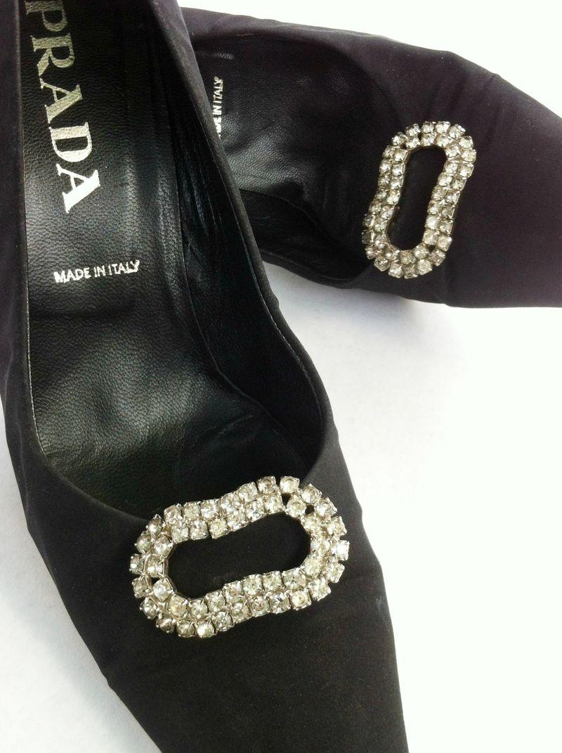 Gorgeous vintage rhinestone shoe clips and funky Prada heels.