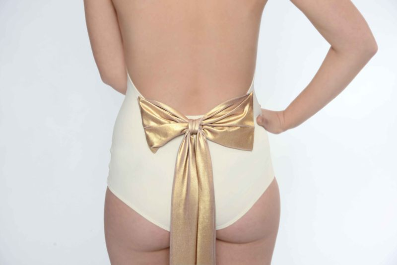 White Wedding swimsuit with bow by Gal Angel for Ugly Duckling