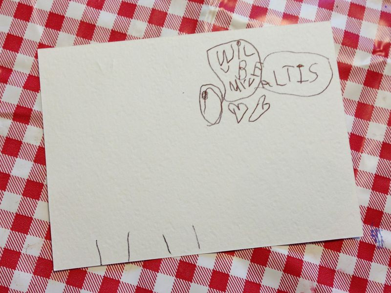 6-year old's design sketch for DIY valentines.  Too cute!