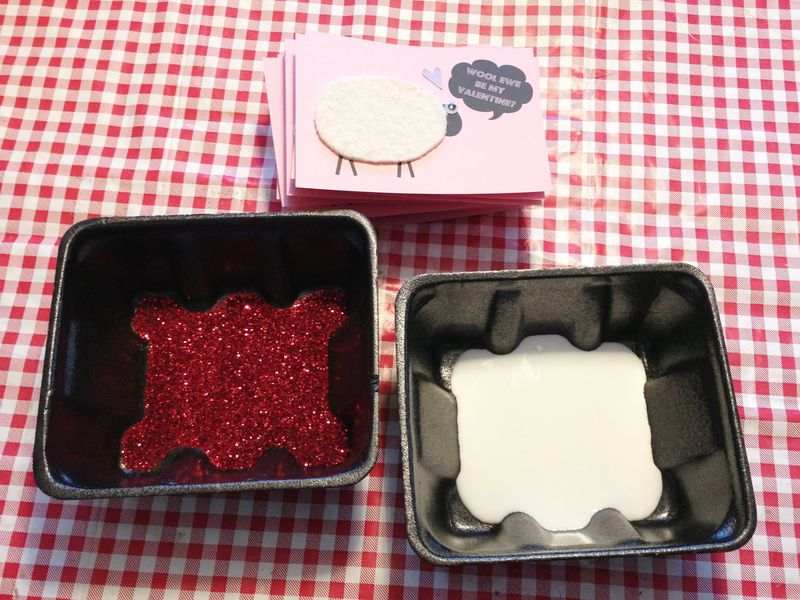 How to glitter cards...dip edges in glue, then glitter.