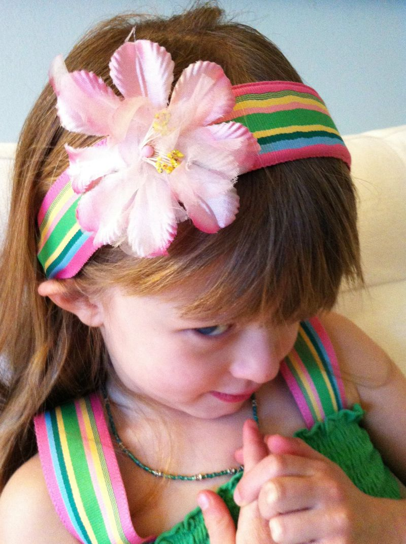 Adorable St. Patrick's Day dress and headband made with a recycled ribbon belt.