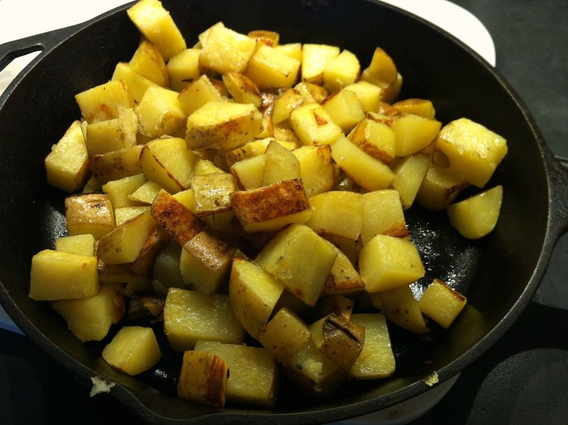 Oven roasted potatoes...love my cast iron skillet for this.