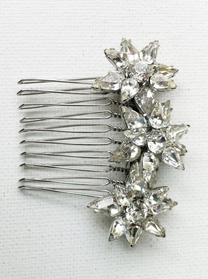 Rhinstone Bridal Comb made from vintage rhinestone scatter pins