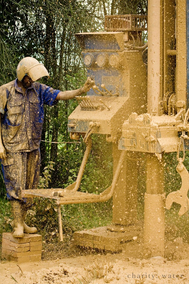 Charity: Water drilling a well in Uganda