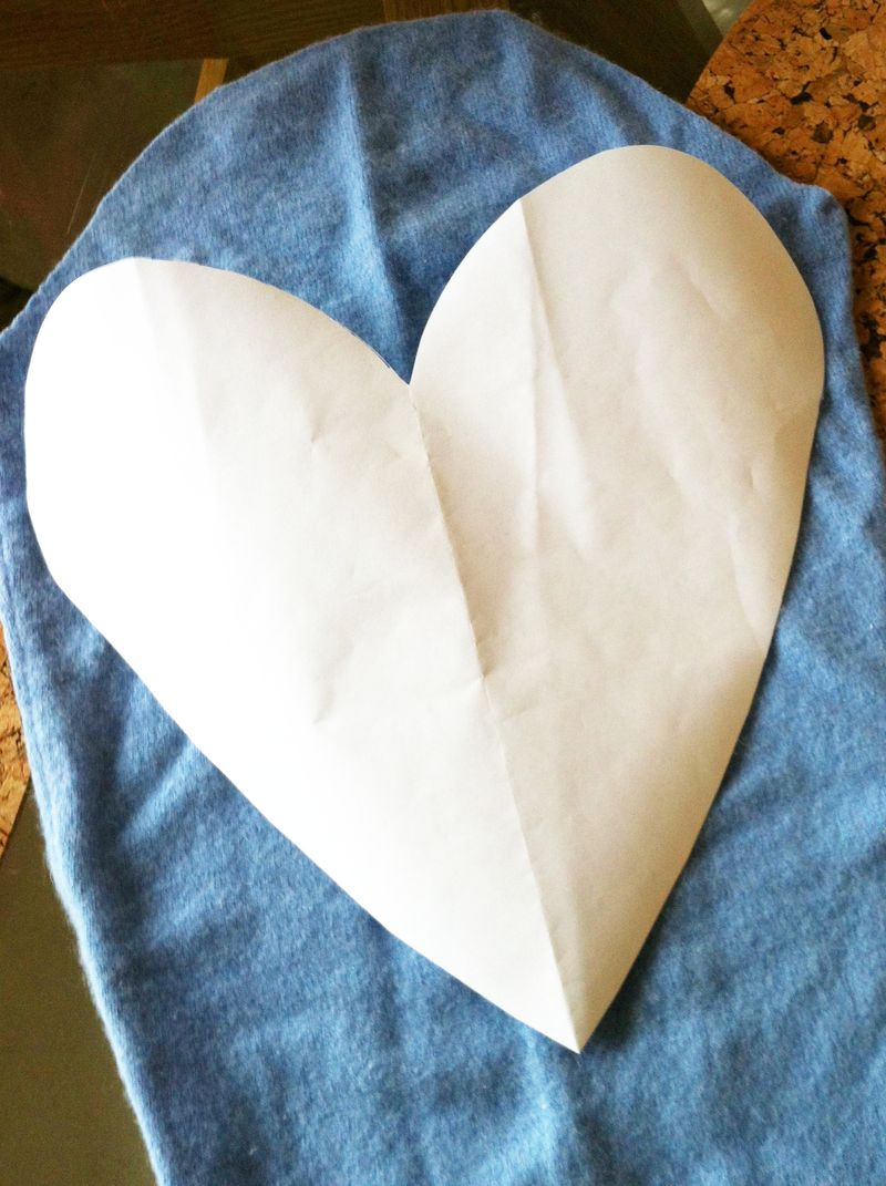 Heart template for DIY masectomy pillows