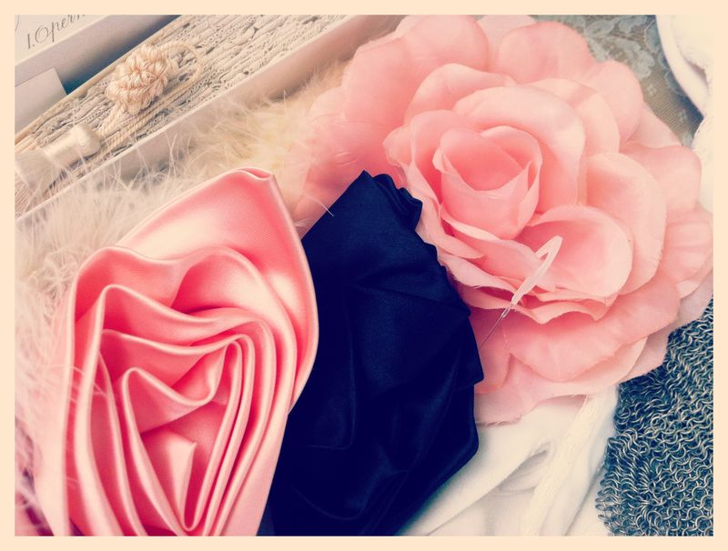 Vintage milinery flowers...love the impossibly chic combo of shell pink and black.