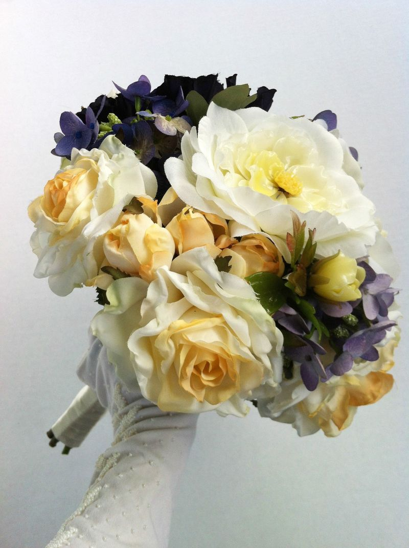 Glass flower bridal bouquet...made with vintage glass flowers.