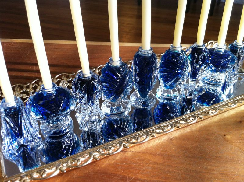 Beautiful vintage salt shakers filled with blue water...awesome (and easy!) DIY menorah