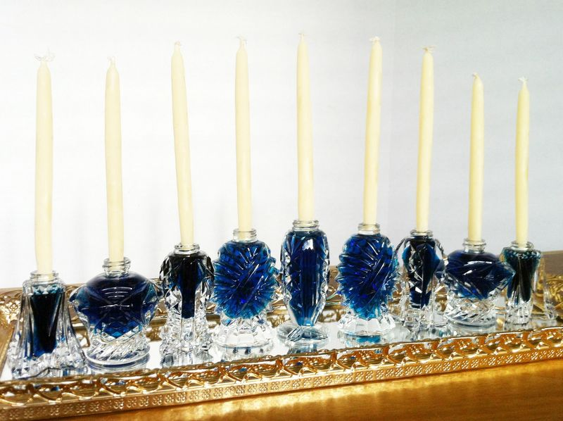 Super easy DIY menorah made from vintage salt shakers.