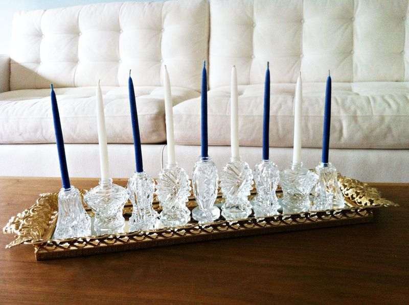 Gorgeous DIY Hanukkah menorah made from vintage salt shakers.  Love!