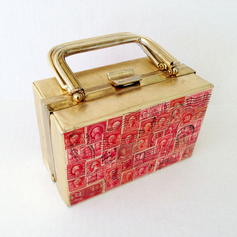Funky mid-century purse with vintage postage stamps...so cool!
