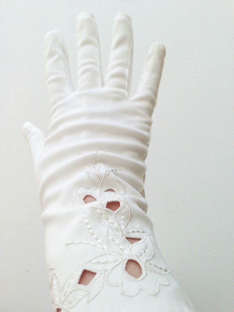 Gorgeous vintage gloves with embroidery and cut-work.