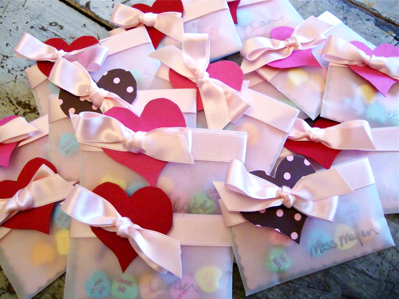 DIY vellum pocket valentines.