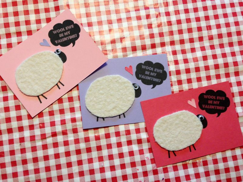 Embellished Valentines with wool bodies, google eyes and punched hearts.  Wool ewe be mine?