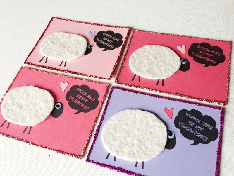 Wool Ewe Be My Valentine?  Free printable DIY project.