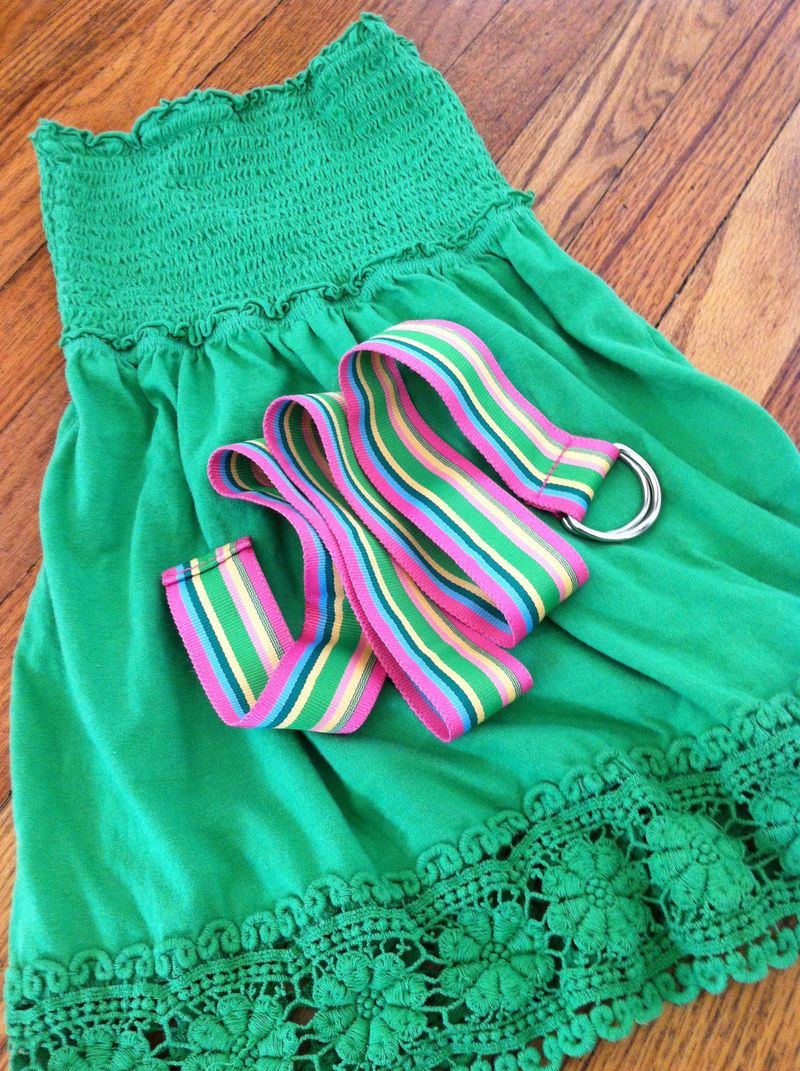 Make a St. Patrick's Day dress and a head band out of a tube top and a belt.