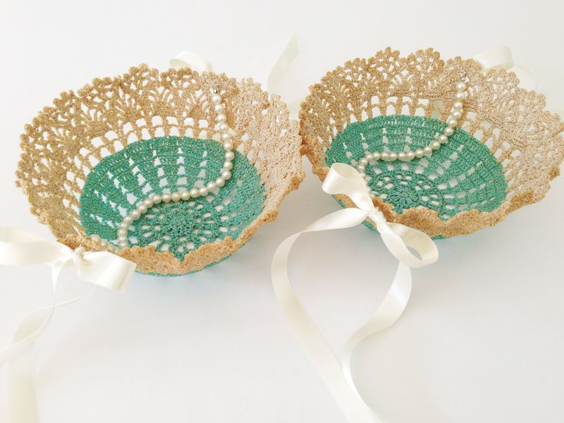 Set of two flower girl baskets made from vintage doilies - great color!