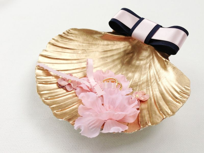 Gilded ring bearer scallop shell...perfect for a beach wedding!